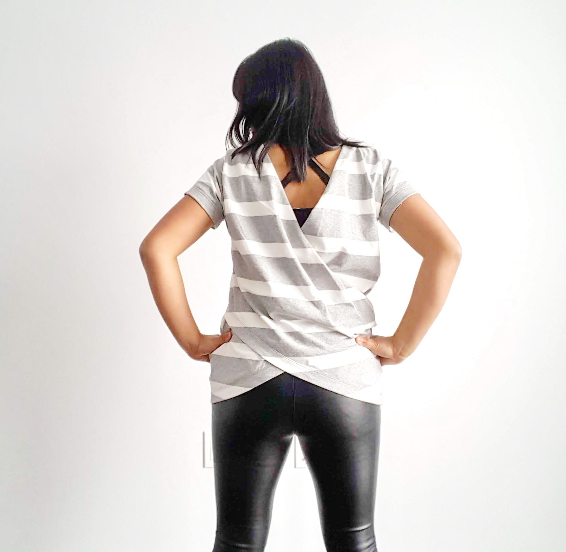 Breton stripe with stretch leather